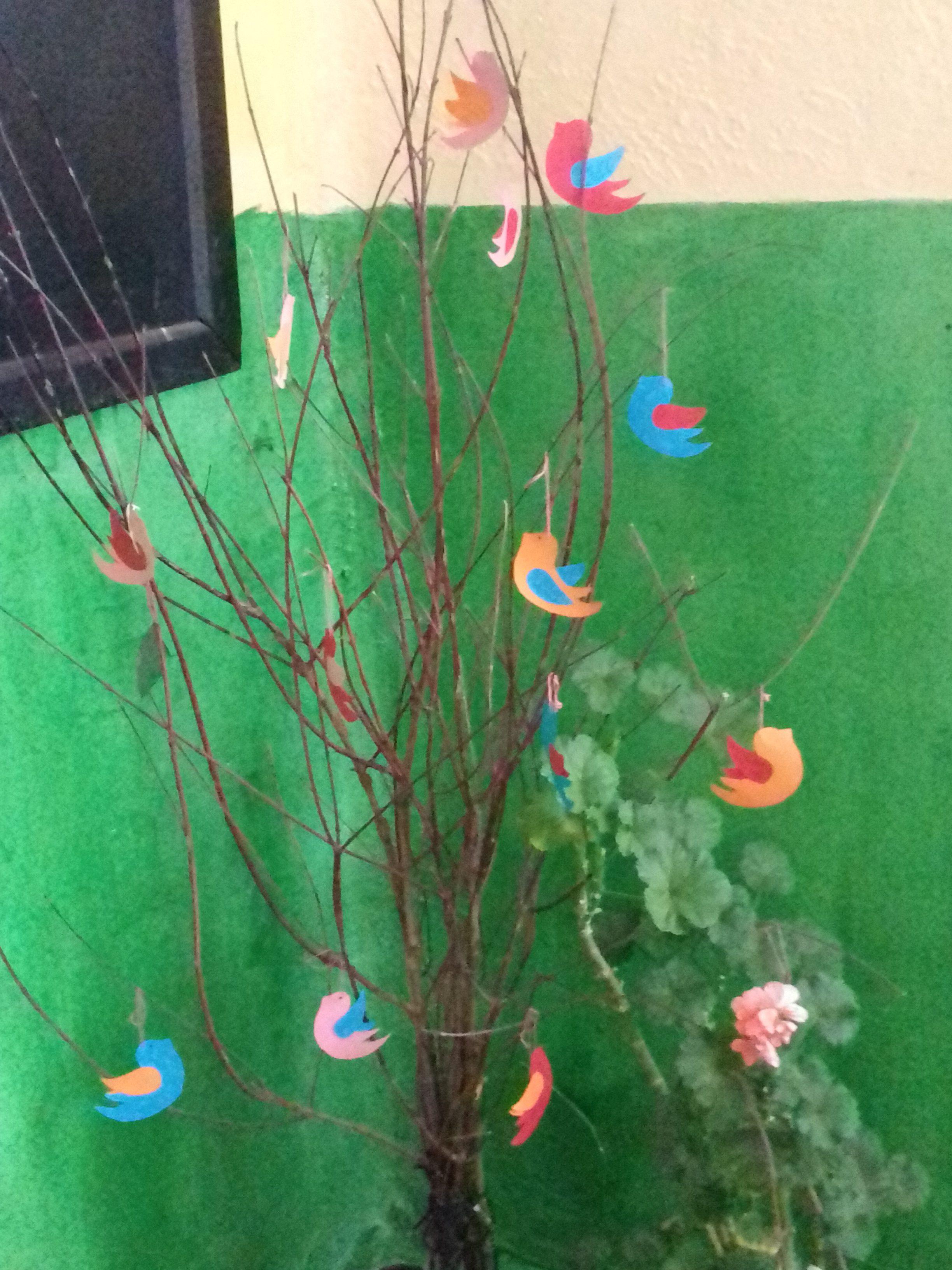 Ръчно направено дърво с птички